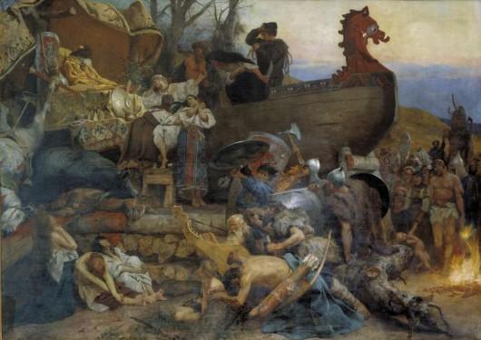 Семирадский Генрих Ипполитович. Похороны знатного руса в Булгаре. Около 1883