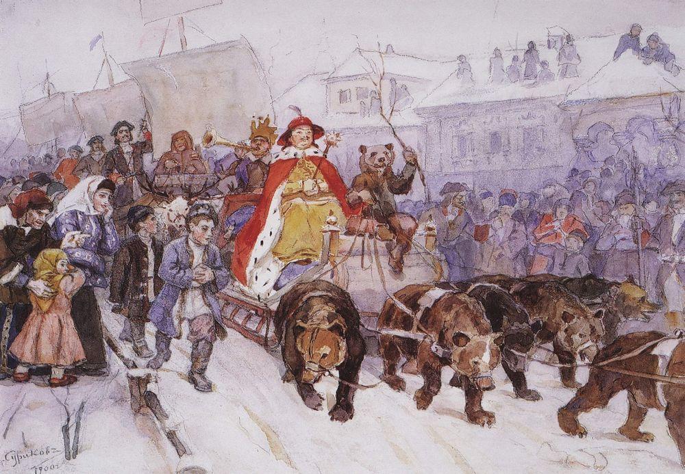 Большой маскарад в 1772 году на улицах Москвы с участием Петра I и князя-кесаря И.Ф.Ромодановского. 1900