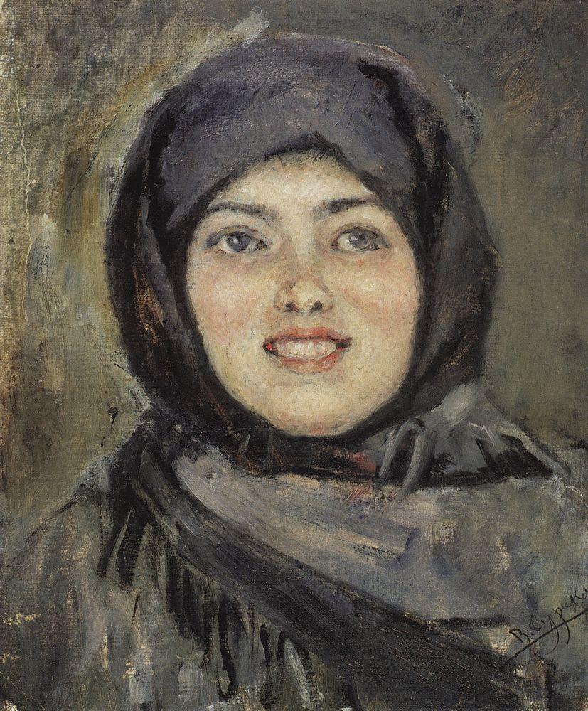Голова смеющейся девушки. 1890