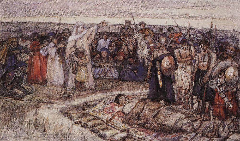 Княгиня Ольга встречает тело князя Игоря. 1915