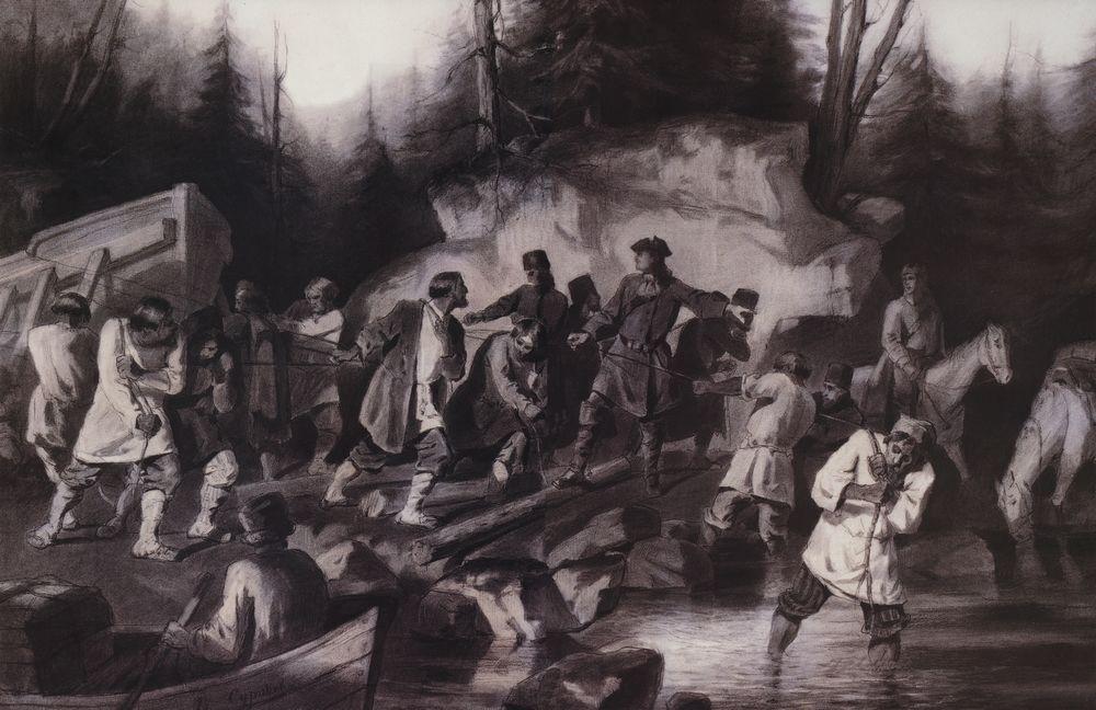 Петр I перетаскивает суда из Онежского залива в Онежское озеро в 1702 году. 1872