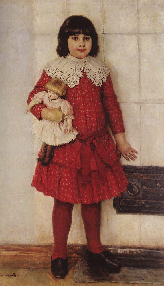 Портрет О.В.Суриковой (в замужестве Кончаловской), дочери художника, в детстве. 1888