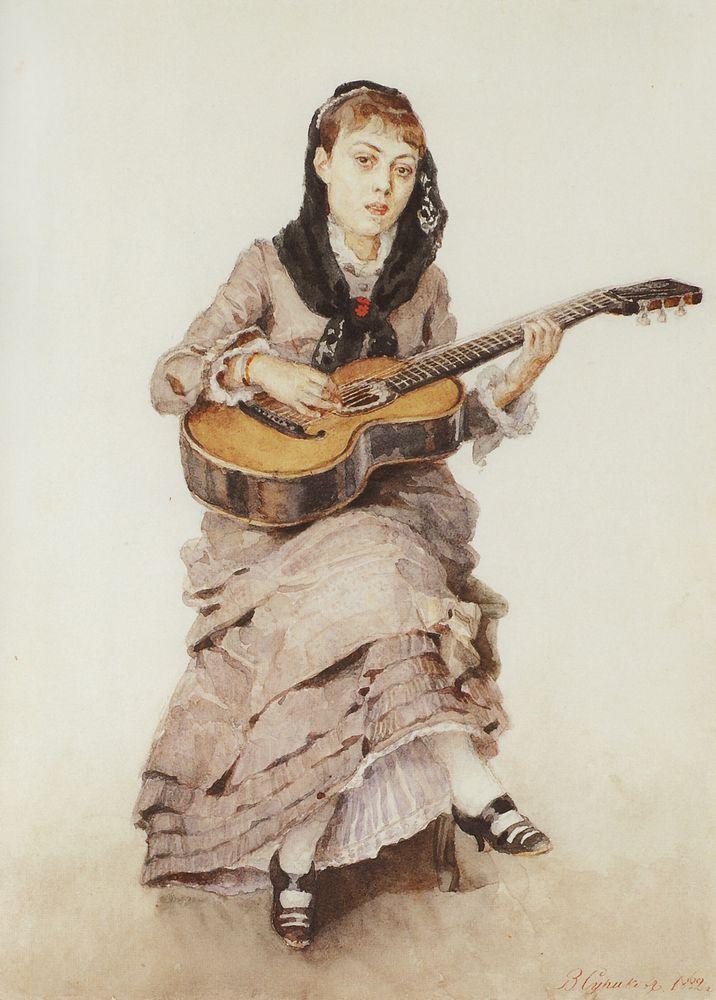 С гитарой. Портрет княгини С.А.Кропоткиной. 1882