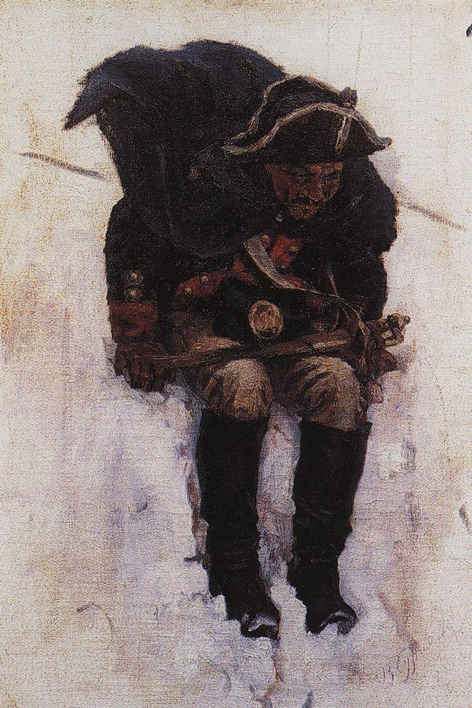 Солдат, спускающийся по склону снежной горы. 1898