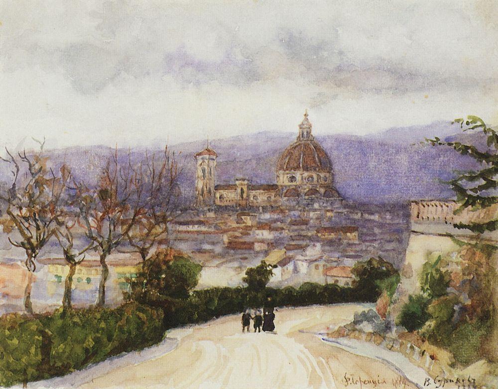 Флоренция. Прогулка (жена и дети художника). 1900