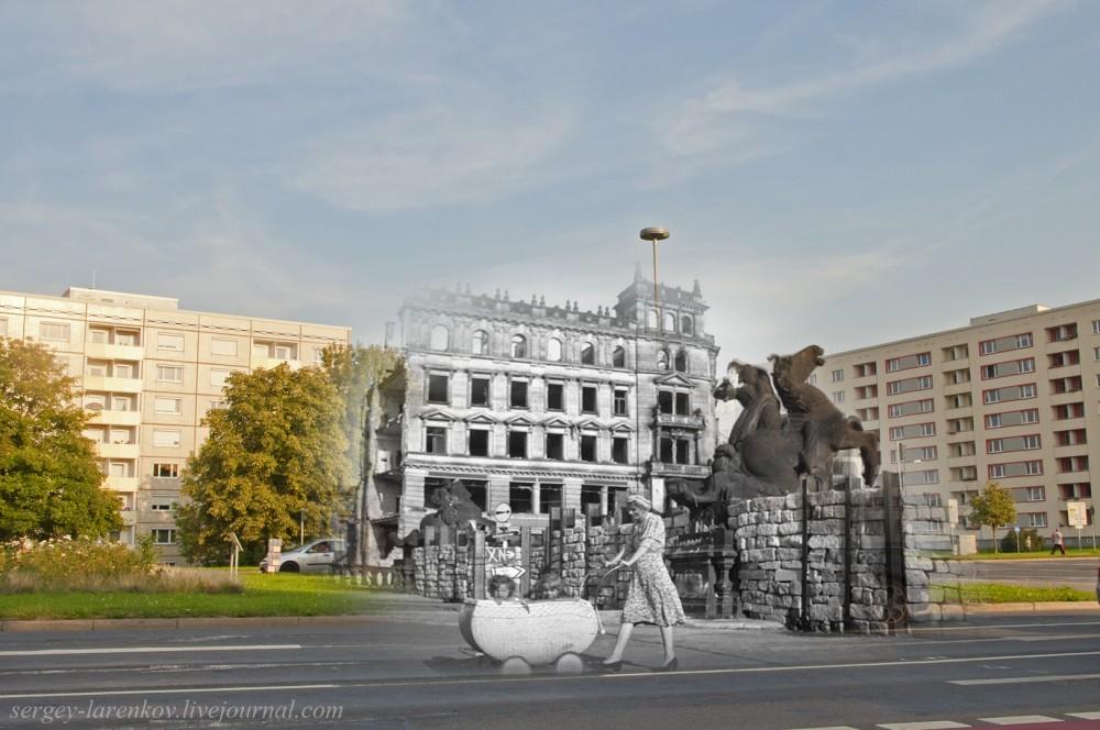 011.Дрезден 1945-2014 Статуи старого моста Carolabrücke StPetersburgerStrasse