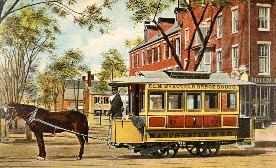 First_Horsecar_in_Manchester,_NH