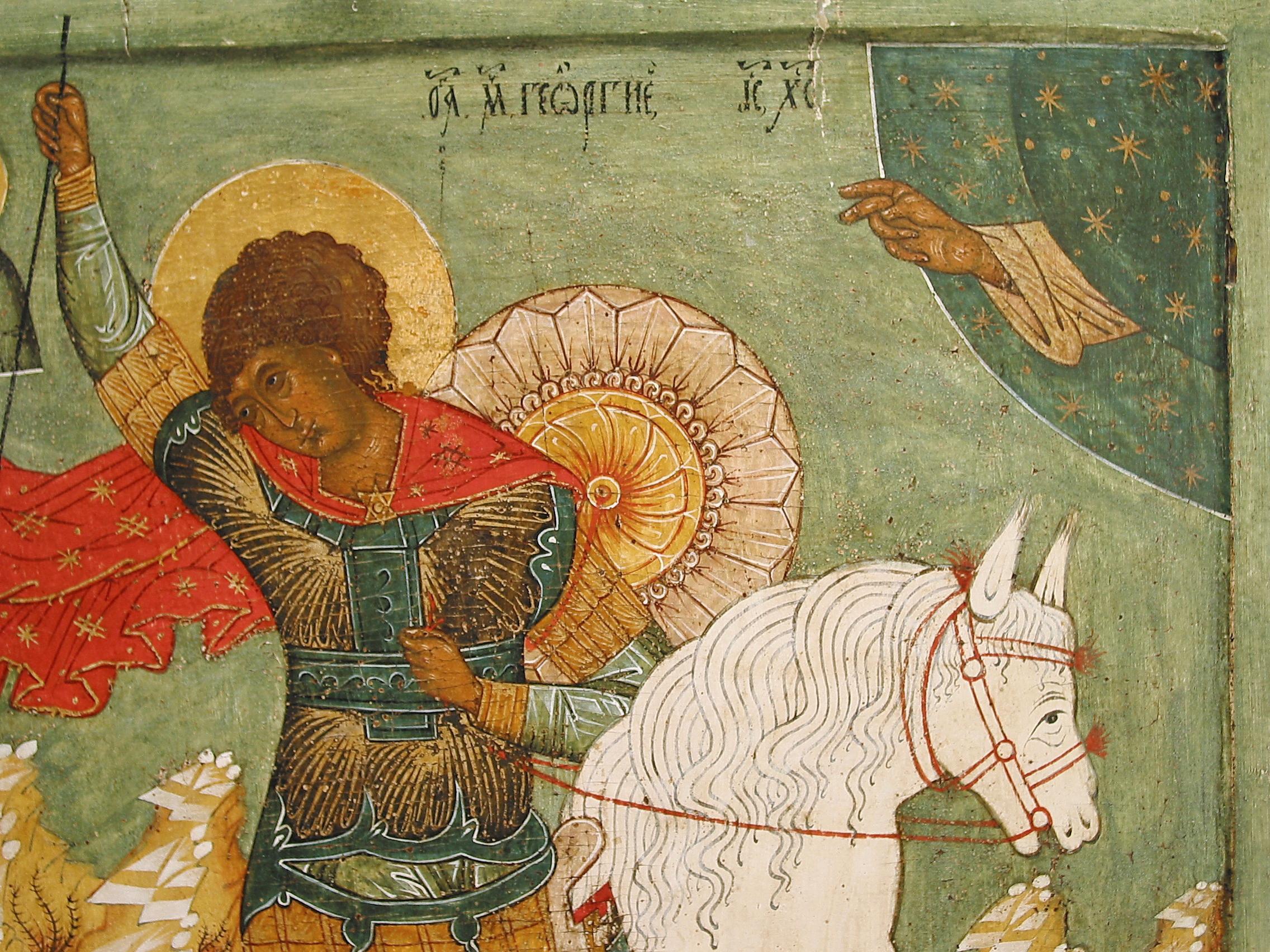 Увеличенный фрагмент иконы. Рука, протянутая сквозь звёздную сферу - признак раннего христианского мировоззрения.