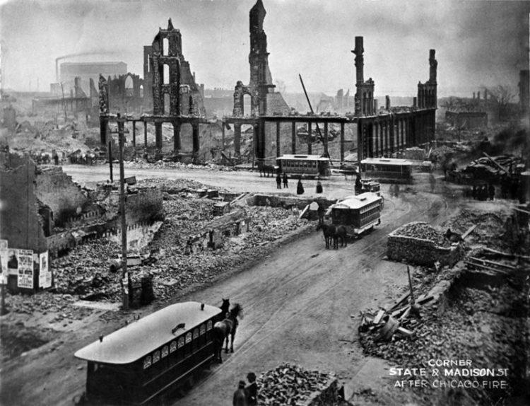 Чикаго после пожара 1871г.
