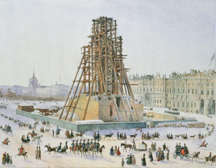 Григорий Гагарин. Александровская колонна в лесах. 1832—1833гг.