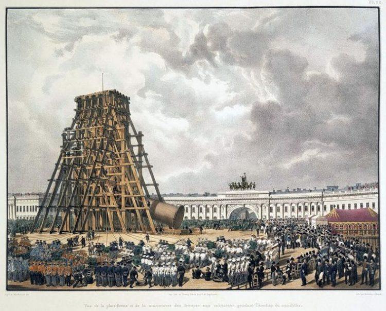 Подъём Александровской колонны
