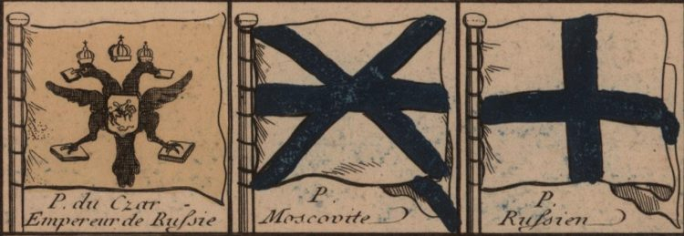 Tableau de tous les pavillons que lon arbore sur les vaisseaux Dans les Quatre Parties du Monde