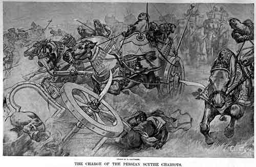 The_charge_of_the_Persian_scythed_chariots_at_the_battle_of_Gaugamela_by_Andre_Castaigne_(1898-1899)