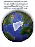 Положение северного полюса до катастрофы. Иллюстрация из книги Н.В. Левашова «Россия в кривых зеркалах»
