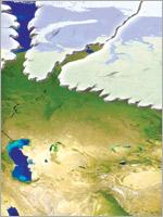 Азиатский ледник. Иллюстрация из книги Н. Левашова «Россия в кривых зеркалах»