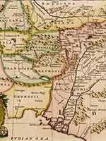 Карта Эмануэля Боуэна (Emanuel Bowen), Лондон, 1744 г. «Индия в описаниях всех авторов до 5 века»