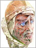 Голова воина юэйджи. Халачаян (Khalchayan), южный Узбекистан. Крашеная глина