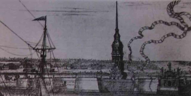 """""""Панорама Петербурга"""". Гравюра А. Зубова. 1716 г. РНБ. (Фрагмент)"""