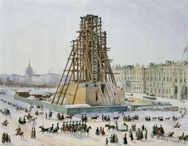 Григорий Гагарин. «Александрийская колонна в лесах». 1833