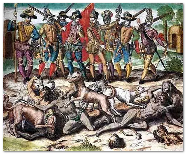 Европейский геноцид коренного населения Америки: Зверская эксплуатация индейцев.