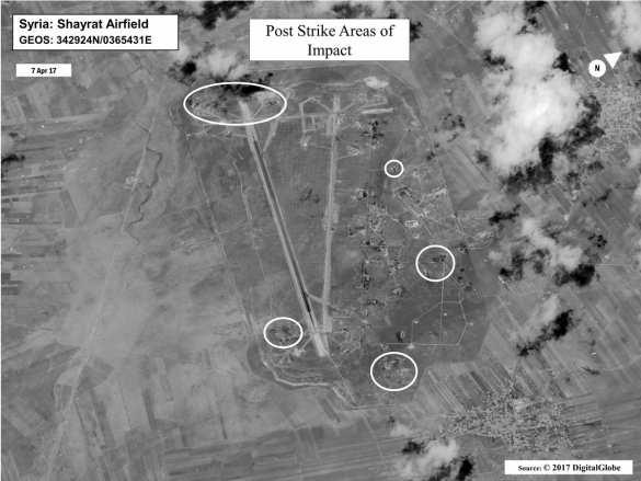 Пентагон лжет, что 59 ракет попали в цель: спутниковые снимки авиабазы ВВС Сирии (ФОТО) | Русская весна