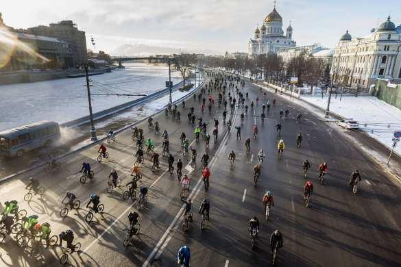 ВМоскве в30-градусный мороз прошел велопарад (ФОТО, ВИДЕО)   Русская весна