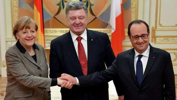 Меркель, Олланд иПорошенко заявили, чтосанкции против России будут действовать, пока небудут выполнены Минские соглашения   Русская весна