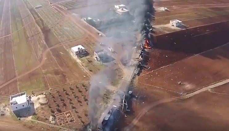 ШОК: разбомбленный ВКСРФтопливный конвой ИГИЛ — съемки сквадрокоптера (ВИДЕО) | Русская весна