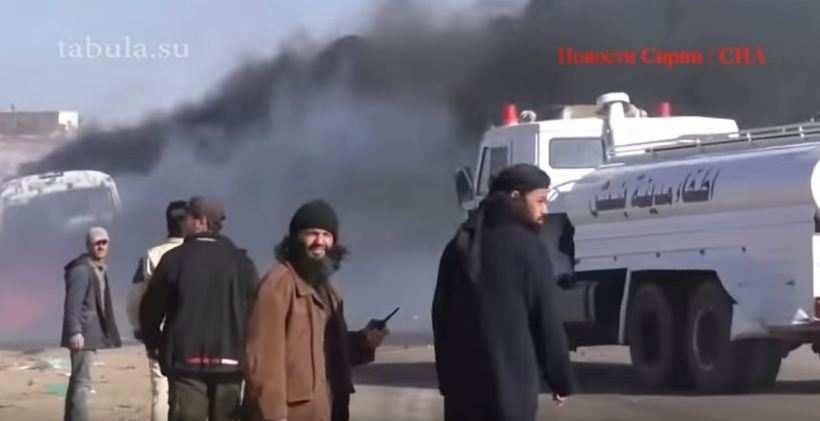 Точный авиаудар ВКС РФ по бензовозам ИГИЛ террористы выдают за разбомбленный рынок (ВИДЕО, перевод с арабского) | Русская весна