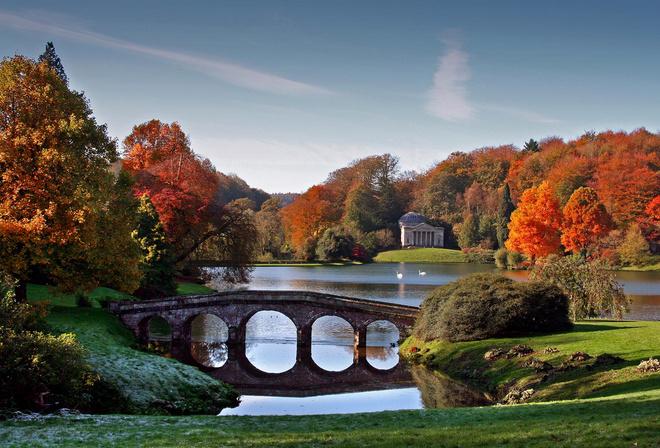 Осень, природа, парк, мост, красота