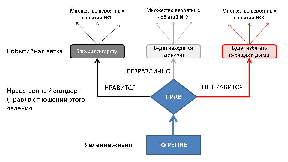 Пример разных типов нравов по отношению к явлению Курение и связанных с ними веток вероятностных событий