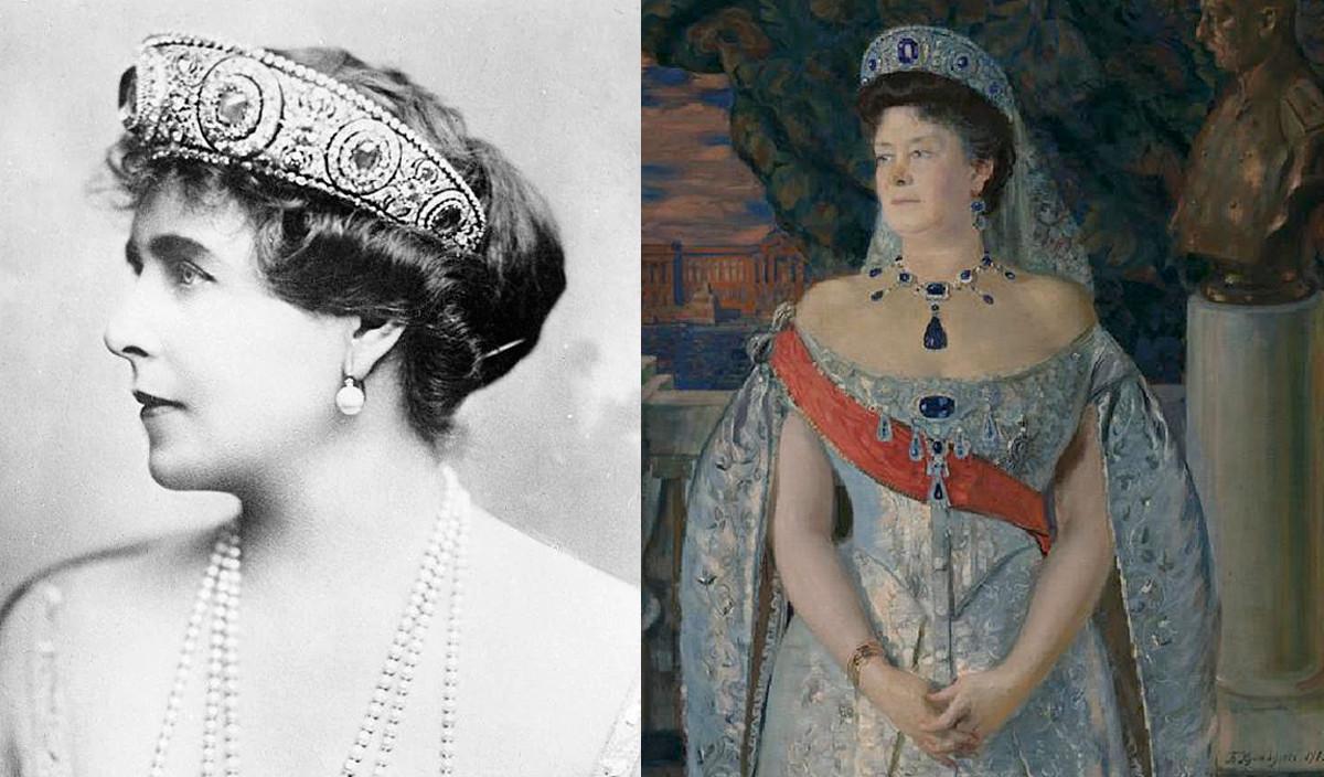 Румынская королева Мария и портрет Марии Павловны в сапфировой тиаре.