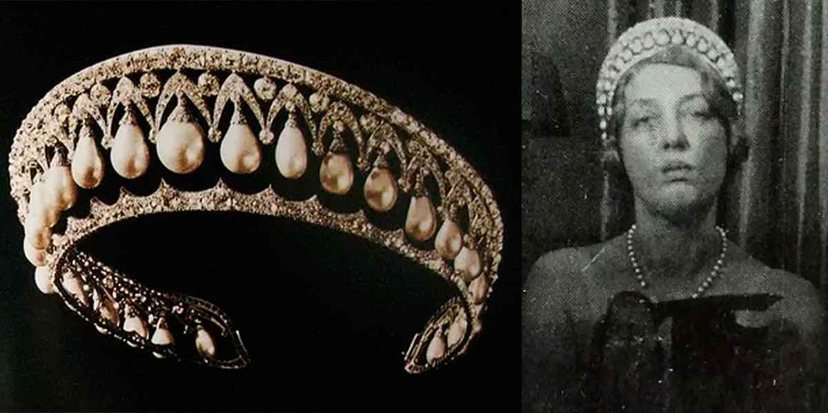 Жемчужная диадема и жена герцога Мальборо Глэдис в ней.