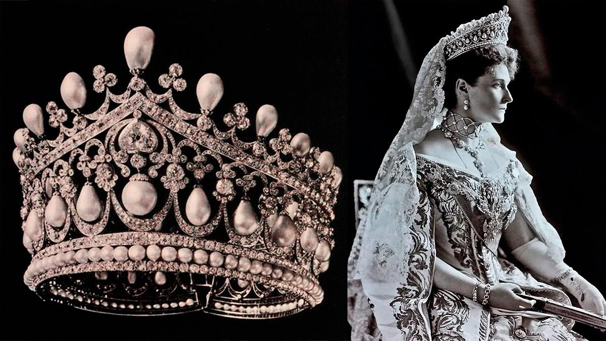 Большая бриллиантовая диадема  и Александра Федоровна в ней на открытии Государственной Думы.