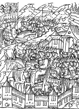 Вступление Ивана IV вКазань. Миниатюра из«Лицевого Летописного Свода».