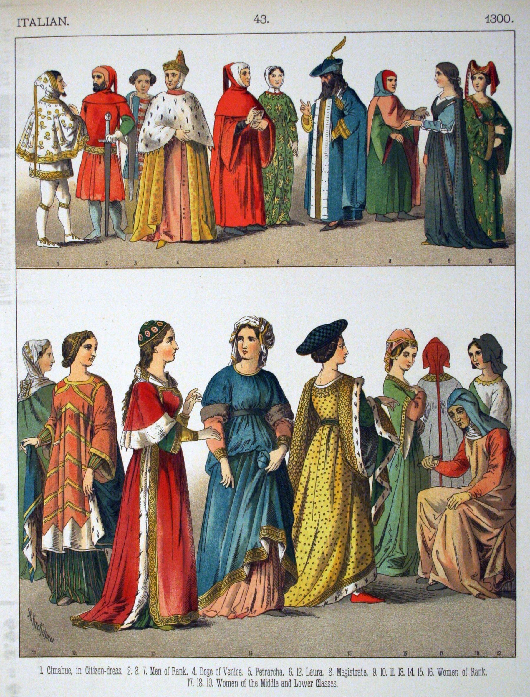 Итальянская одежда XIV века.