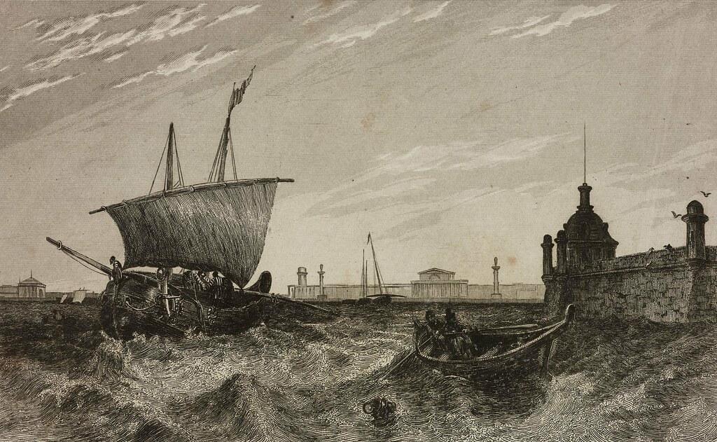 1838. Вид на старое здание фондовой биржи и Петропавловскую крепость