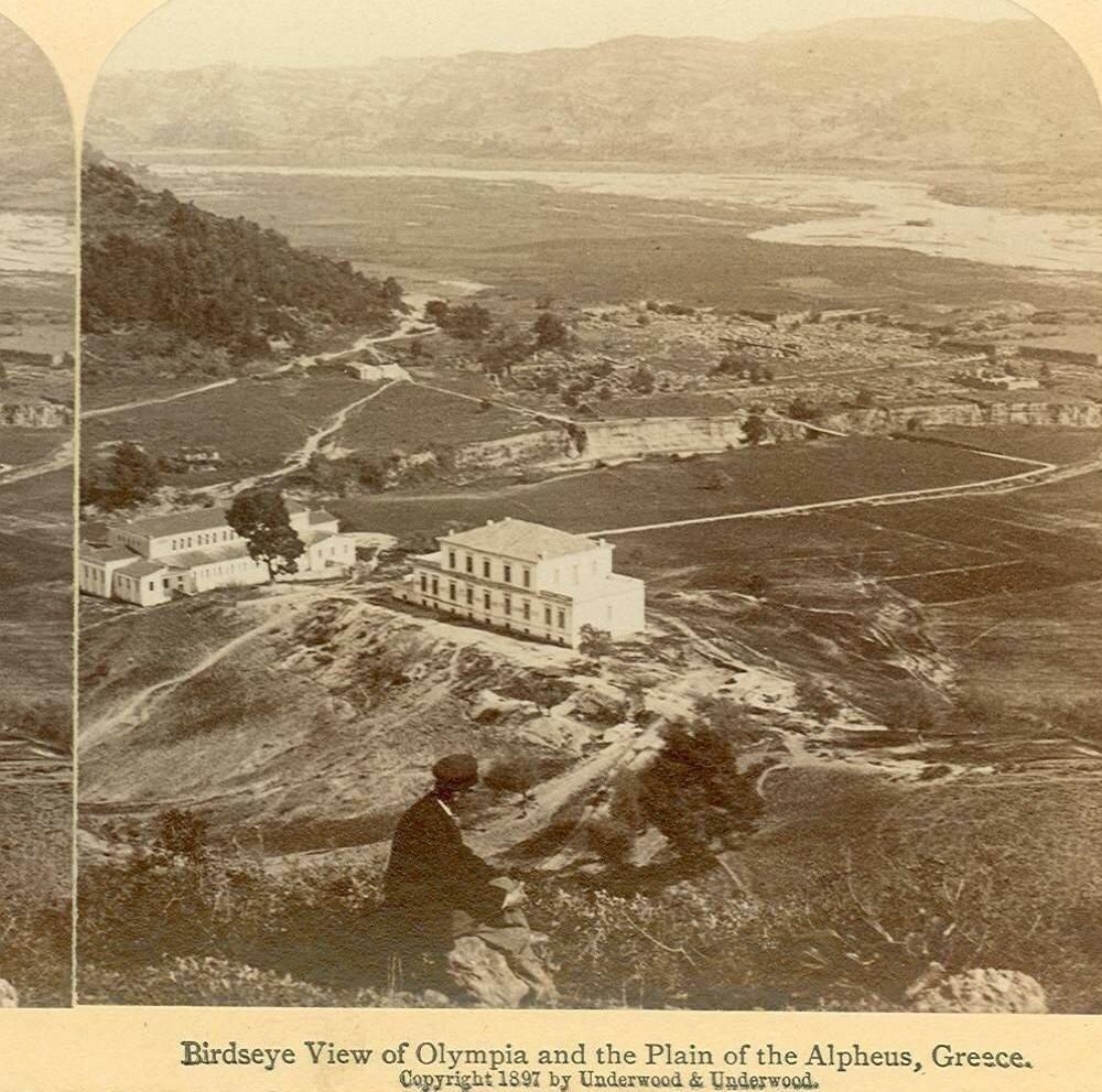 Вид с высоты птичьего полета на Олимпию и равнину Альфеус.1897