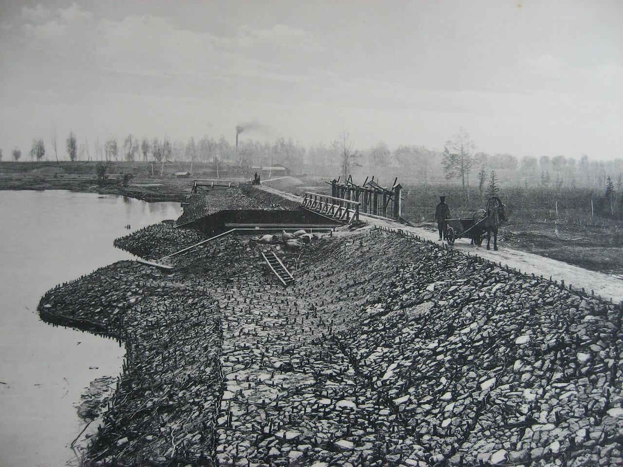 11. 2308 верста. Общий вид Иланской плотины. Строительный период 1911