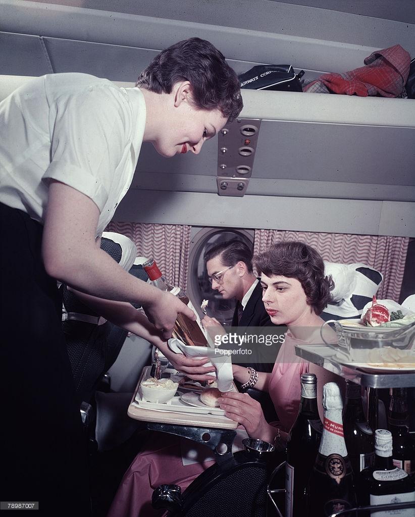 1956 A stewardess on board a BOAC, Britannia.jpg