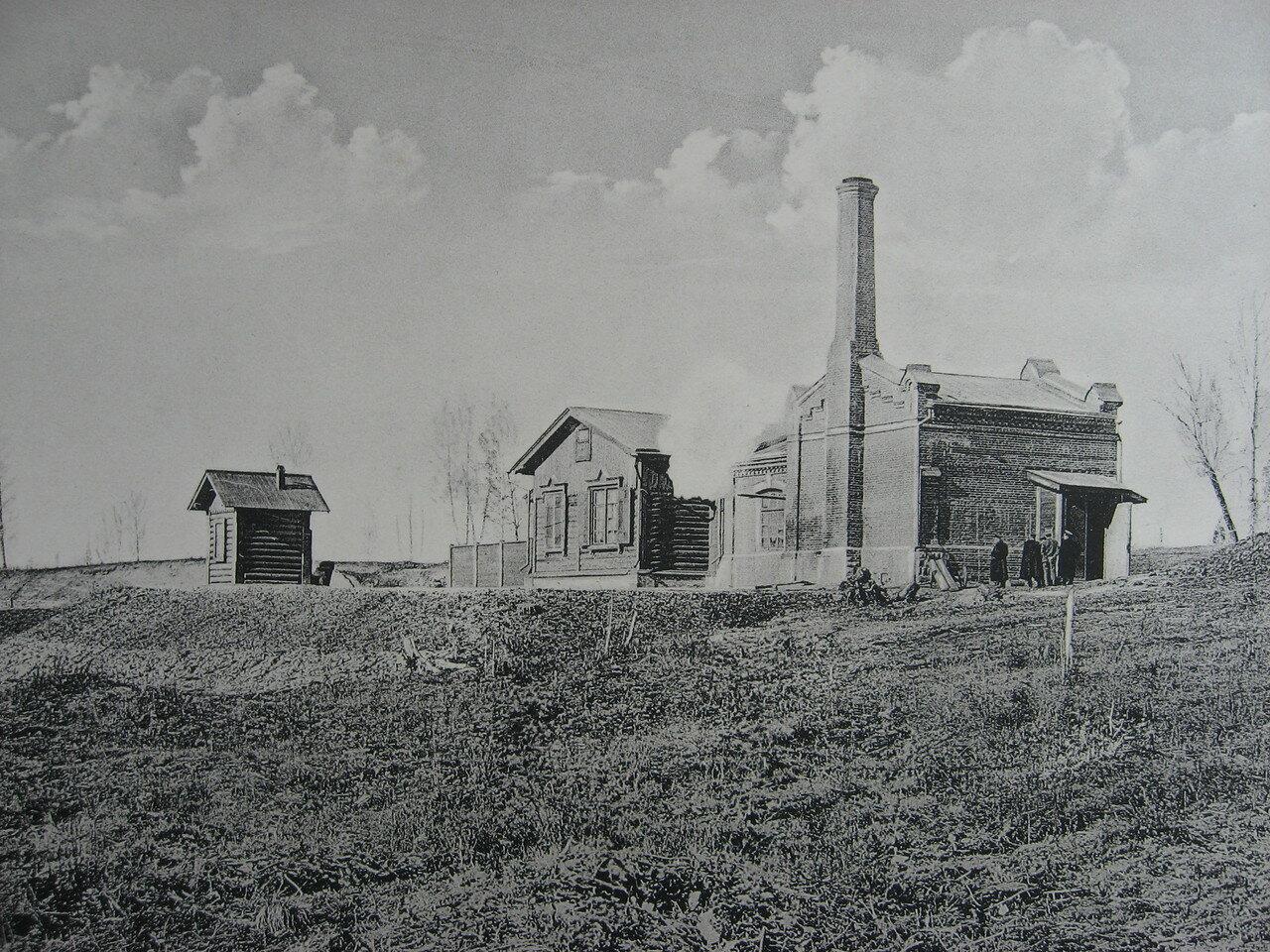 03. 2220 верста. Водоподъемное здание на станции Камала. Строительный период 1910
