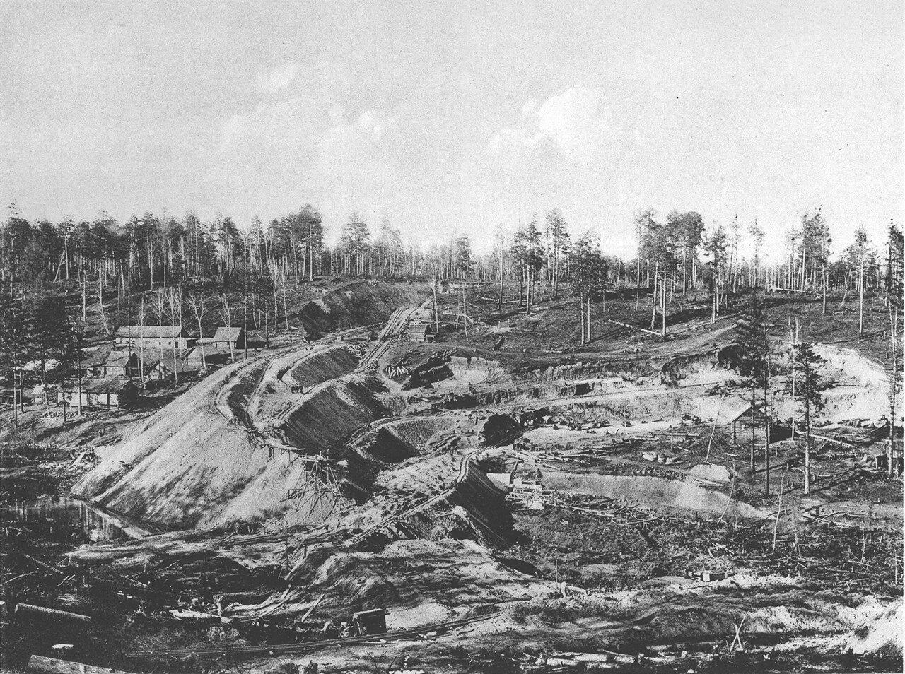 28. 2550 верста. Сооружение насыпи на «Берёзовой пади»; высота насыпи 12,74 саж. Строительный период 1908