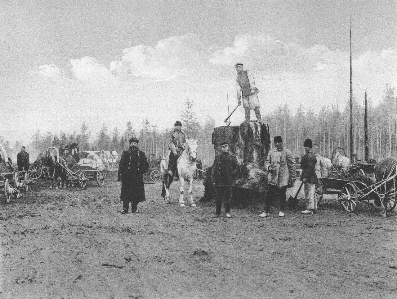 20. 2444 верста. Общий вид земляных работ на Окульшетском варианте. Строительный период 1909