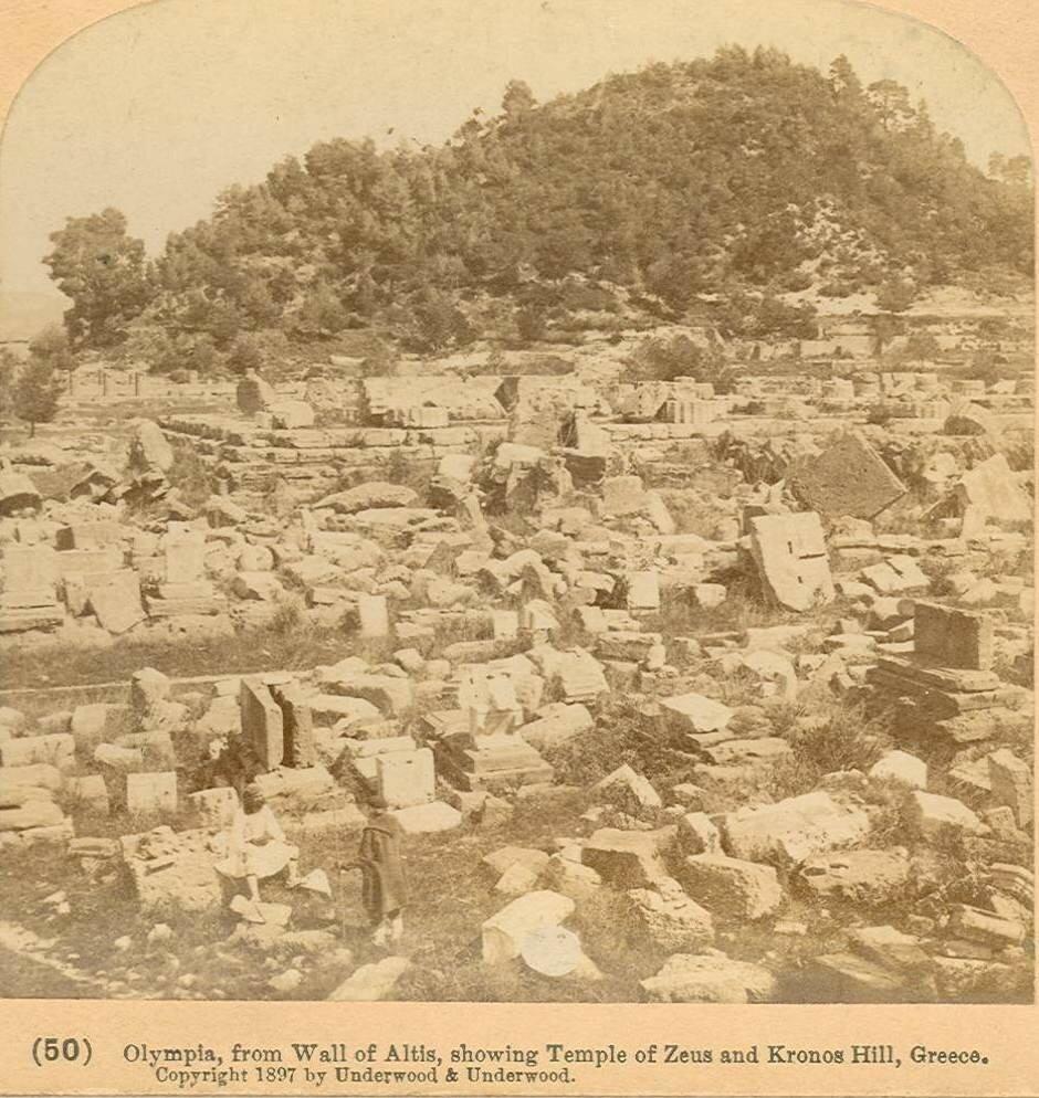 Вид от стены, ограждавшей алтис храма Зевса. 1897