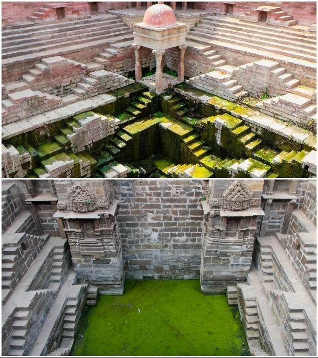 Большинство старинных колодцев уже заброшены, но туристы и паломники их посещают с удовольствием (Индия).