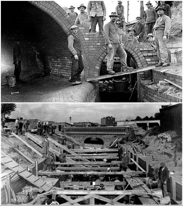 Исторические снимки строительства самой красивой водно-канализационной системы Европы (Лодзь, Польша). | Фото: moya-planeta.ru.
