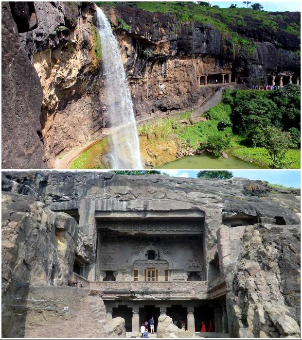 Буддистские храмы в пещерах Эллоры (Индия).
