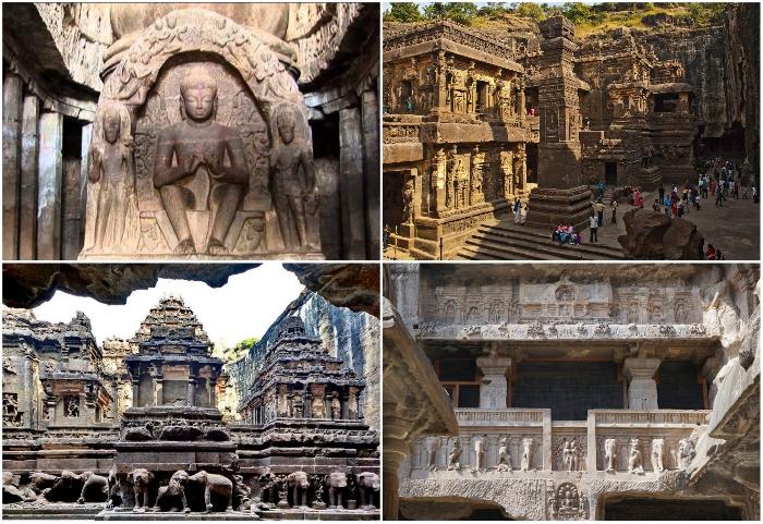 В скальной породе на протяжении 2 км созданы 34 храма для последователей сразу трех религий (Эллора, Индия).