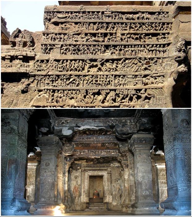 Каждый элемент уникального храма украшен резьбой и горельефами (Эллора, Индия).