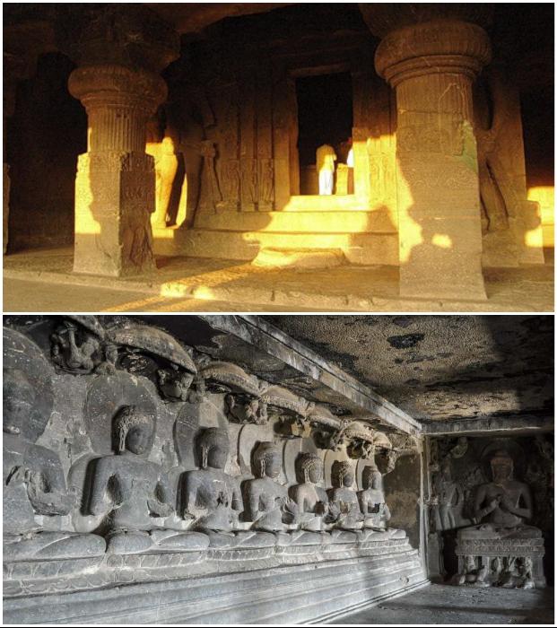 Буддистские пещеры Эллоры (Индия).